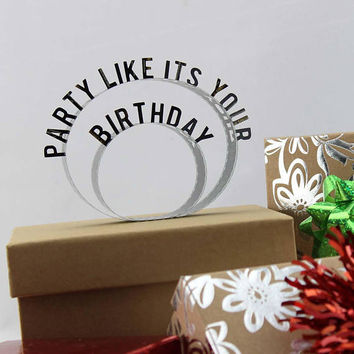 Party Like It's Your Birthday - Film Reel Gift Packaging Bow - Pop Up Letters Word Loop - Repurposed from Movie Film Strips - Happy Birthday