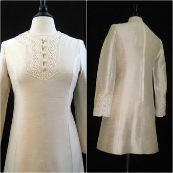 60s Dress Vintage Dupioni Silk w/ Soutache Cord Hippie Boho Dress S - M