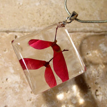 Maple seed necklace, Maple pendant, Leaf jewelry, Plant jewellery, woodland, nature, red,