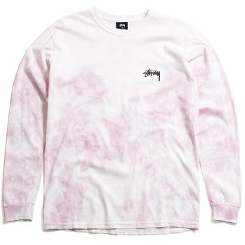 Small Stock Tie-Dye Longsleeve T-Shirt Natural / Pink