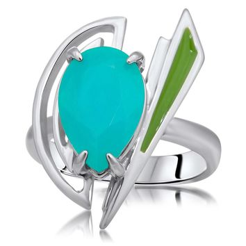 875 Silver Ring with Blue Chalcedony, Green Enamel
