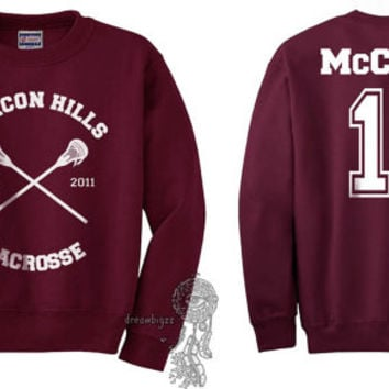 Beacon Hills Lacrosse CR McCall 11 Scott McCall printed on Maroon Crewneck Sweatshirt