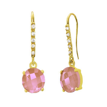 Rose Quartz and White Sapphire 18K Yellow Gold Dazzle Earrings
