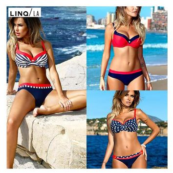 Red/Blue Push Up Low Waist Bikini Set