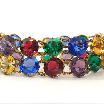 Vintage Czech Glass Bracelet Art Deco Rhinestone Bracelet Colorful 20s Crystal Bangle Gilded Paste Antique Jewelry Estate Jewelry Gift