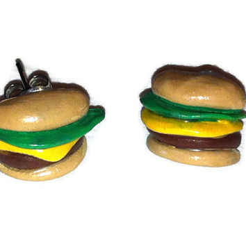 Hamburger Post Earrings, Burger Studs, Food Jewelry, Polymer Clay, Fun earrings, gag gifts, gift ideas, fake food earrings, costume jewelry,