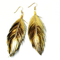 GOLD -Metallic Foil Lambskin Leather Feather Earrings