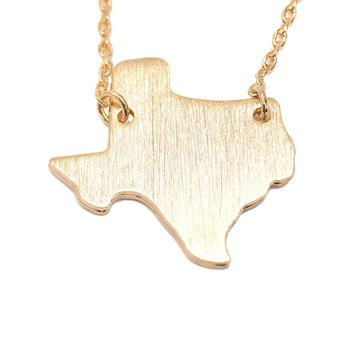 Handcrafted Brushed Metal Texas State Necklace