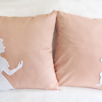 Pick Your Color. Alice And Rabbit In Wonderland Peach And White Decorative Pillow Covers Set. Baby Shower Gift. Girls Room Decor