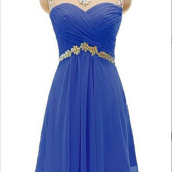 Royal Blue A-line Beaded Chiffon Homecoming Dress