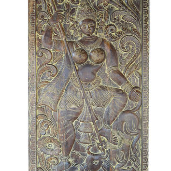 Antique Vintage Handcarved Shailaputri Goddess of Mother Nature Barn Door, Wall decor , Boho Zen interior design