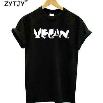 Vegan Spelled With Animals Print Women tshirt Cotton Casual Funny t shirt For Lady Girl Top Tee Hipster Tumblr Drop Ship Z-1165