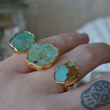 ON SALE Size 4.5 TURQUOISE Galaxy /// Double Banded Turquoise /// Two Finger Ring