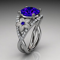 14kt  white gold diamond floral engagement ring ADLR167 3.85ct  blue Sapphire