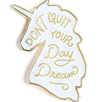 Unicorn Day Dreams Pin - White