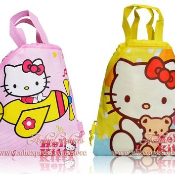 Kawaii 4pcs Hello Kitty Childrens Drawstring Backpack Cartoon Bags,Multipurpose bag,34*27cm,Kids School Party Bags