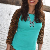 Wild Child Turquoise Leopard Raglan (S to 3XL)