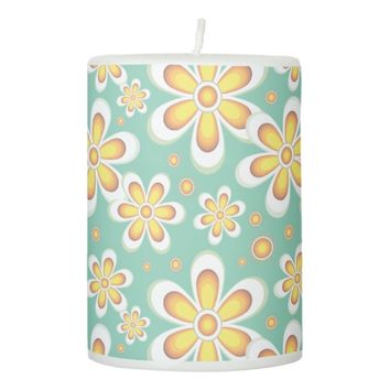 floral pattern pillar candle