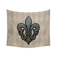 Wall Tapestry, Neutral decor, fleur de lis wall decor, French decor, tapestry wall hanging, vintage style decor, tan decor, brown decor