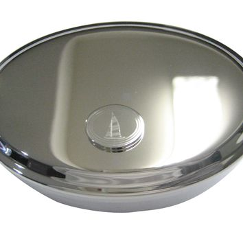 Silver Toned Etched Oval Nautical Sail Boat Oval Trinket Jewelry Box