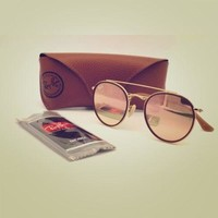 New Ray-Ban Rb3647N Round Double Bridge 001/70 51MM Gold/Pink Mirror Sunglasses