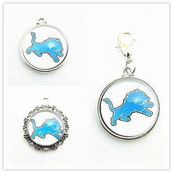 New Arrival Football Sport Team Detroit Lions Dangle Charms Fit DIY Bracelet&Necklace Pendant Jewelry 20pcs/lot
