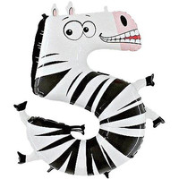 Zebra Number 5 Balloon - 40'' Zooloon Foil- 5 today balloons-Fox balloon - Five today