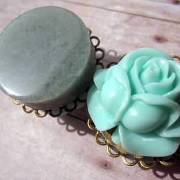 "One of a Kind - Pair of Seafoam Rose Filigree Stone Plugs - Girly Plugs - Feminine Gauges - 1"" (25mm)"