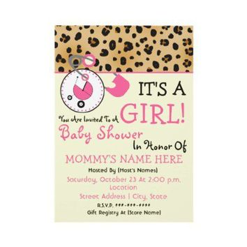 Baby Shower Invite - Pink Diaper Pin & Leopard from Zazzle.com