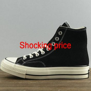 2018 Cheap Unisex Converse Chuck Taylor All Star 1970s High Black White 157453 fashion shoe