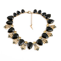 Black Pear Stone Statement Necklace