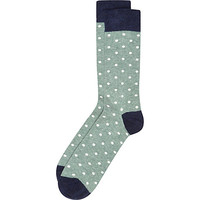 River Island MensGreen marl polka dot socks