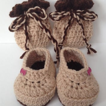 Adorable Hand Crocheted Booties w/ Matching Mittens - Any Color & Up to 12 Months