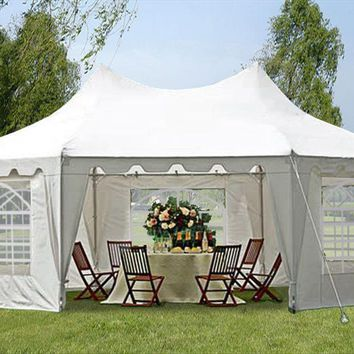 22'x16' White Octagonal Wedding Party Gazebo Tent Canopy Heavy Duty Tent - By DELTA Canopies