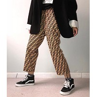 FENDI Classic Fashion Women Men Vintage FF Letter Pants