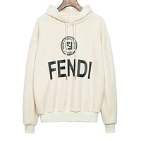FENDI Autumn Winter Fashionable Women Men Casual Print Pleuche Long Sleeve Hooded Velvet Sweater Top Sweatshirt White
