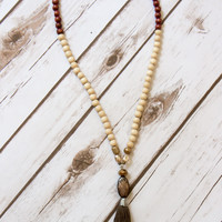 Through the Woods Beaded Tassel Necklace