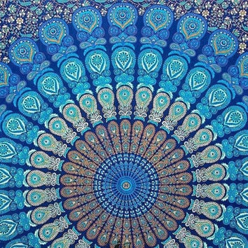 Mandala Blue Royal Boho Pigment  folk Cultural Gpsy throw Bedspreads Wall Tapestry