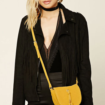 Faux Suede Stitched Crossbody