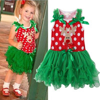 Children Dresses Christmas Girl Dress Baby Kids Christmas Reindeer Lace Tutu Dress One Piece Outfits