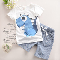 2T-6T 2017 New Toddler Boys Clothing Children Summer Boys Clothes Cartoon Kids Boy Clothing Set T-shit+Pants 100% Cotton