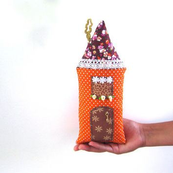 Handmade stuffed house,Fairy Pillow House,Stuffed Toy,Fairy Cottage,Boys,Girls,Children, Autumn house, patchwork, orange