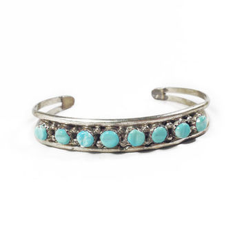 Vintage Silver Blue Turquoise Bracelet // Vintage Native American Cuff, Light Blue Turquoise, Unique Gift for Her