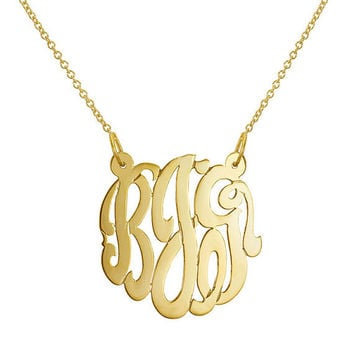 Gold Monogram Necklace Sterling silver 1.25 inch Personalized Monogram 18k gold plated Name Necklace