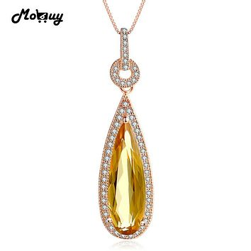 MoBuy MBNI042 Luxury Natural Gemstone Citrine Teardrop Necklace & Pendant 925 Sterling Silver Rose Gold Plated Wedding Jewelry