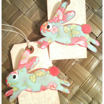 Easter Bunny Basket Gift Tag Handmade Shabby Chic Victorian Robin's Egg Blue Pink Cream Bunny Hop Set of 2