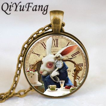 Movie Alice In Wonderland Rabbet pocket watch time Pendant charm Steampunk Necklace doctor who 1pcs/lot women mens vintage chain
