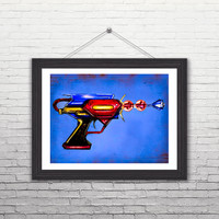 "Justice League of America (Superman) Inspired Ray Gun Illustration 11 x 14"" Art-Print"