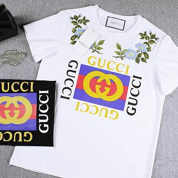 """""""Gucci""""Hot Sale Trending Letters Print Flower Embroidery T-shirt Top"""