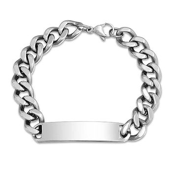Identification Name Plated Curb Cuban ID Bracelet Stainless Steel